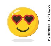 cute smiling emoticon wearing... | Shutterstock .eps vector #597141908
