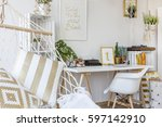 white cozy study room with... | Shutterstock . vector #597142910