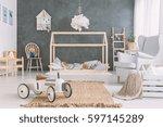 baby room in scandinavian style ... | Shutterstock . vector #597145289