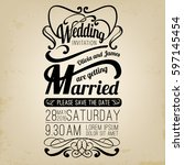 wedding invitation template... | Shutterstock .eps vector #597145454