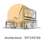 architectural sketch. sketch of ... | Shutterstock .eps vector #597145760