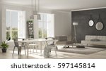 scandinavian living room with... | Shutterstock . vector #597145814
