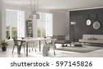 scandinavian living room with... | Shutterstock . vector #597145826
