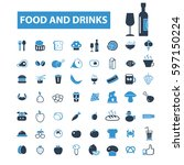 food and drinks icons  | Shutterstock .eps vector #597150224