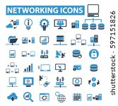 networking icons  | Shutterstock .eps vector #597151826