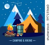 camping flat set with hiking... | Shutterstock .eps vector #597155660