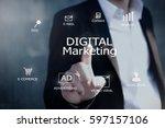 digital marketing concept... | Shutterstock . vector #597157106