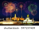 firework celebration at wat... | Shutterstock . vector #597157409