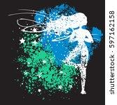 sport fitness poster. abstract... | Shutterstock .eps vector #597162158