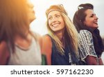 young happy group of friends... | Shutterstock . vector #597162230
