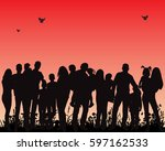silhouette family  crowd of... | Shutterstock .eps vector #597162533