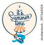 summer holiday and summer camp... | Shutterstock .eps vector #597163424