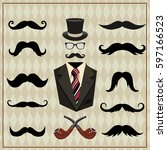 background with mustache ... | Shutterstock .eps vector #597166523