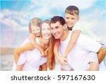 beach. | Shutterstock . vector #597167630