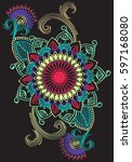 ethnic mandala ornament.... | Shutterstock .eps vector #597168080