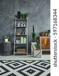 scandi studio flat with... | Shutterstock . vector #597168344