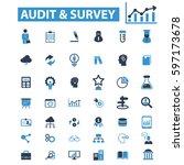 audit survey icons  | Shutterstock .eps vector #597173678