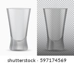 two empty cups transparent and... | Shutterstock .eps vector #597174569