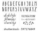 serif hand drawn thin font.... | Shutterstock .eps vector #597176849