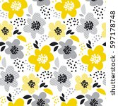 beige gray and yellow floral... | Shutterstock .eps vector #597178748