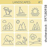 nature landscape outline icon... | Shutterstock .eps vector #597180938