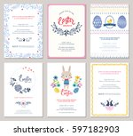 vector easter party invitations ... | Shutterstock .eps vector #597182903