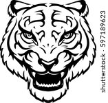 asian tiger head line art | Shutterstock .eps vector #597189623
