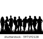 isolated  silhouette of people ... | Shutterstock .eps vector #597192128
