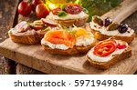 selection of tasty bruschetta... | Shutterstock . vector #597194984