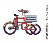 tricycle with front cart vector ... | Shutterstock .eps vector #597197018