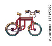 red retro bicycle vector line... | Shutterstock .eps vector #597197030