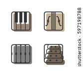 block instrumen icons   piano ...   Shutterstock .eps vector #597198788