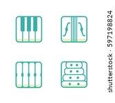 block instrumen icons   piano ...   Shutterstock .eps vector #597198824