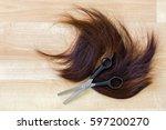 pair of shears  thinning... | Shutterstock . vector #597200270