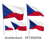 czech republic vector flags set.... | Shutterstock .eps vector #597206936