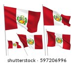 peru vector flags set. 5 wavy...   Shutterstock .eps vector #597206996