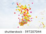 balloon with colorful on sky... | Shutterstock . vector #597207044