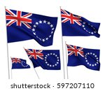 cook islands vector flags set.... | Shutterstock .eps vector #597207110