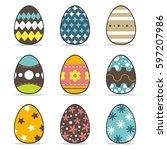 icon easter egg  set  symbol... | Shutterstock .eps vector #597207986
