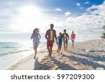 young people group on beach... | Shutterstock . vector #597209300