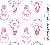 hand drawn seamless pattern... | Shutterstock .eps vector #597209840
