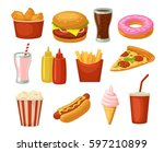 set fast food icon. cup cola ... | Shutterstock .eps vector #597210899