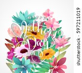 mothers day typographical... | Shutterstock .eps vector #597211019