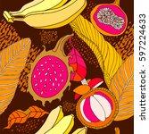 beautiful floral pattern... | Shutterstock .eps vector #597224633