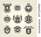 coat of arms and knight blazons ... | Shutterstock .eps vector #597224900