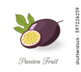 picture of passion fruit.... | Shutterstock .eps vector #597226259