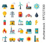 vector set of power energy... | Shutterstock .eps vector #597227330