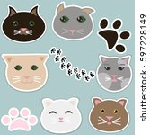 set of vector stickers with... | Shutterstock .eps vector #597228149