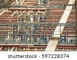 steel column and beam in... | Shutterstock . vector #597228374
