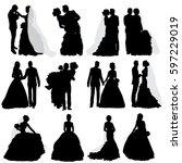 vector  isolated  silhouette of ... | Shutterstock .eps vector #597229019